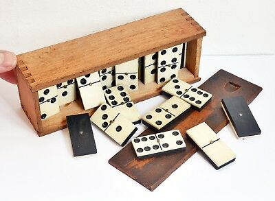 Original Vintage Set of Metal Pinned Dominoes - Complete + Wooden Box. Domino