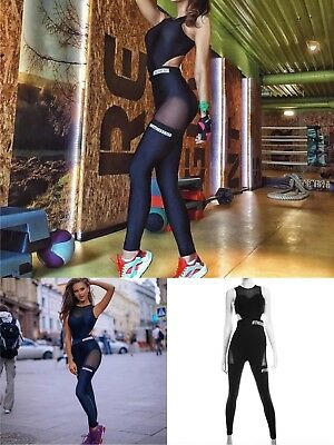 Brand New Women Yoga Gym Fitness Running Jumpsuits Black All Sizes