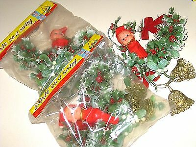 Lot of 3 Vintage OLD Stock NIP Christmas Decor PIXIE on a SWING Knee-Hugger Elf