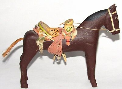 Hand Carved Wooden Folk Art Horse Made In Mexico