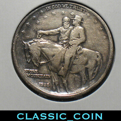 1925 SILVER STONE MOUNTAIN COMMEMORATIVE HALF DOLLAR 50c VF/XF DETAILS FREE S/H