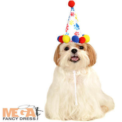 Paw Print Birthday Hat Dog Fancy Dress Pompom Party Animal Pet Costume Accessory