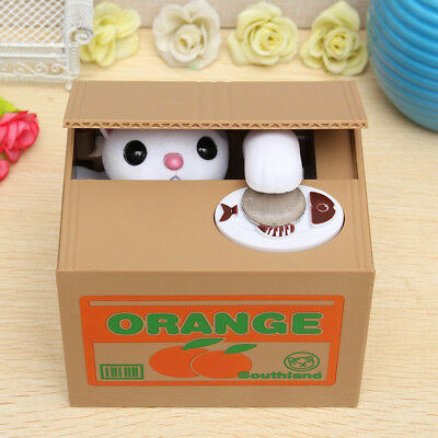 Novelty Stealing Coin Money LITTLE Panda Cat Piggy Bank Storage Saving Box Gift