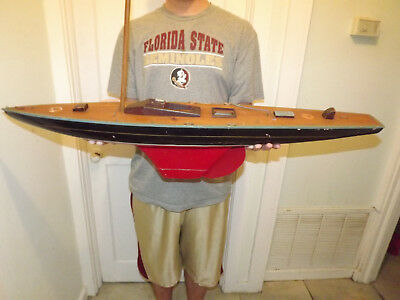 """Antique Wooden Pond Boat Yacht Ship Weighted Keel 39"""" inches Long"""