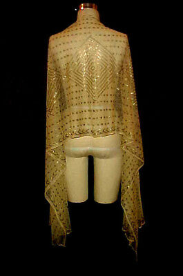 VTG 1920s ART DECO FLAPPER METAL MESH ASSUIT SHAWL / WRAP, GEOMETRIC DESIGN
