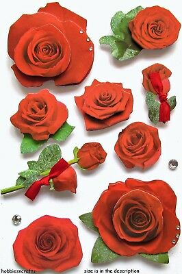 Paper House 3-D Glitter Gemstone Stickers - Floral Flower Flowers - Red Roses