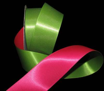 "5 Yards Solid Pink Green Reversible Double Faced Satin Ribbon 1 1/2""W"