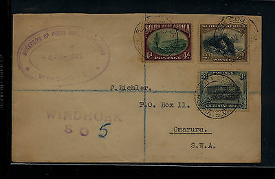 South  West  africa  111-113 registered cover local use  1945        KEL0416