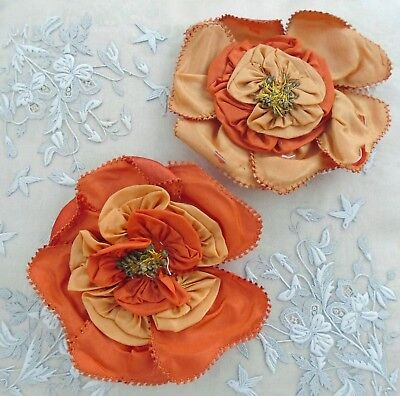 Antique Pair Silk Hand Made Millinery Flowers - 2 Tone Orange/apricot