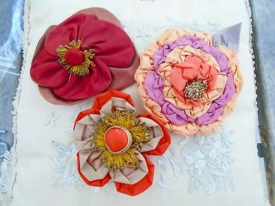 3 ANTIQUE SILK MILLINERY FLOWERS - HAND MADE c. 1900-20