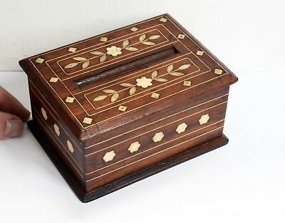 Gorgeous Vintage Inlaid Wooden Cigarette Dispenser Box - Carved Foliage Design