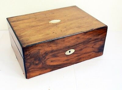 Beautiful Large Inlaid Antique Wooden Box with Hinged Lid - 30 x 21.5 x 12.5cms