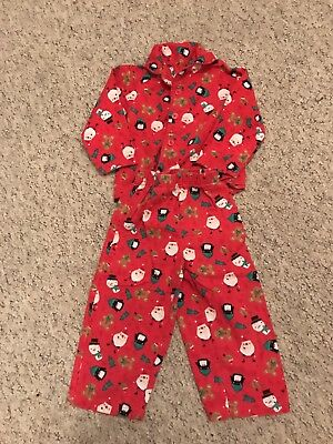 Baby Boys Red Flannelette Christmas Pyjamas / PJ set Age 12-18 Months