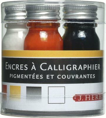 J HERBIN 5 Piece Calligraphy Pen Ink Sampler Set, 10ml ea, Assorted Colors