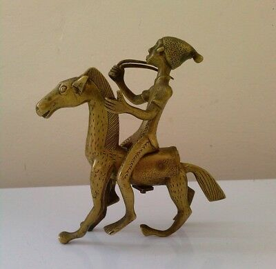 "vintage  bronze/brass African tribal? rider and horse ""damanged"""