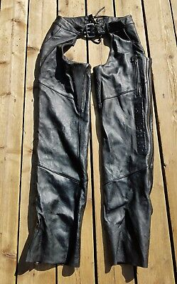 Harley Davidson Black Leather Double Zippered Black Leather Motorcycle Chaps