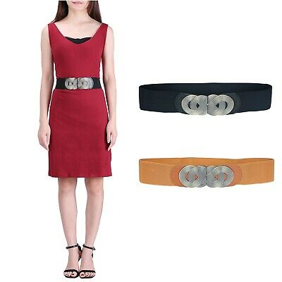 Women's Elastic Cinch Belt Retro Style Metal Infinity Buckle Stretch Waistband
