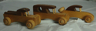 Wood Carved Cars Lot Of 3
