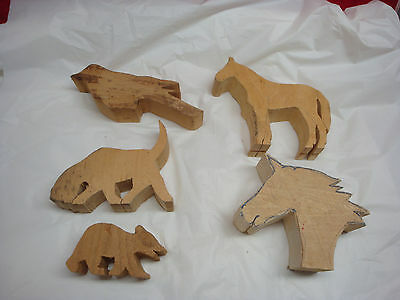 Wood Carving Blanks Lot Of 5 Horse Head Bird Bear Dog Started Not Finished