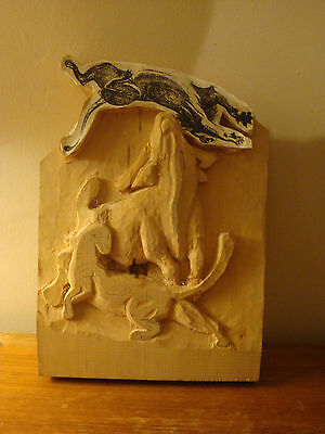 Wood Carving Blank Bull & Panther/jaguar/cat Started Not Finished