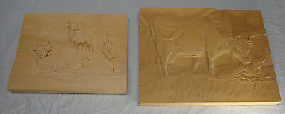 Lot Of 2 Wood Carving Blanks Cow And Deer Started Not Finished
