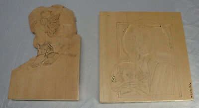 Lot Of 2 Wood Carving Blanks Boy Crying Mary Baby Jesus Started Not Finished