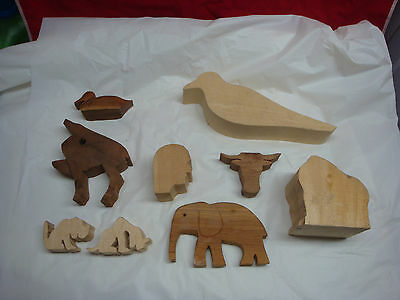 Wood Carving Blanks Lot Of 9 Elephant Bird Duck Dog Bull Started Not Finished