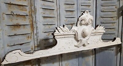 Shabby Carved Wood Pediment Antique French Coat Of Arms Architectural Salvage