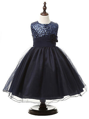 Flower Girl Dress Formal Princess Pageant Wedding Birthday Party Navy Size 6-7