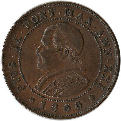 1866 Italy - Papal States (Vatican) 2 Soldi Large Coin KM#1373