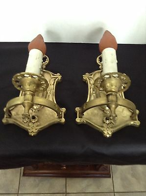 Antique Solid Brass Wall Lamps Pr Sconce Electrified Rewired Push Button Switch