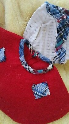 "Red skirt blouse plaid trim  PIECE LOT, For 8"" GINNY GINGER MUFFIE VIRGA"