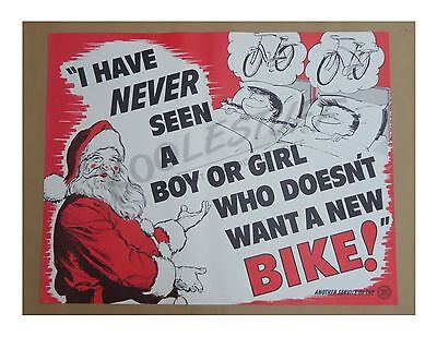 VINTAGE BICYCLE ORIGINAL ANTIQUE SANTA POSTER 1950's / 1960's - Schwinn Dealers
