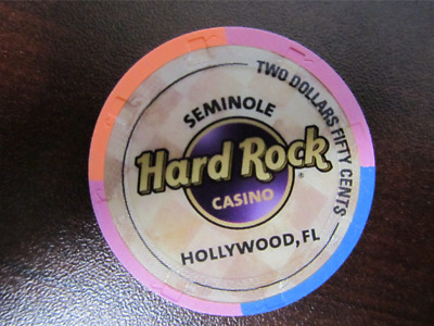 $2.50 Pink Orange Blue HARD ROCK Casino Chip Seminole Hollywood FL Two Fifty