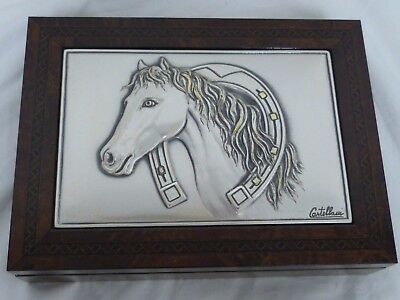 Vintage Castellani Wooden Jewelry Box With Sterling Silver Top  Horse
