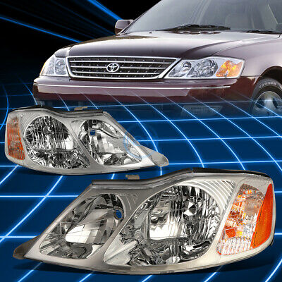 Pair Chrome Housing Amber Side Bumper Headlight for 2000-2004 Toyota Avalon