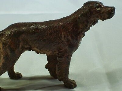 Cold painted brass. Red setter dog.