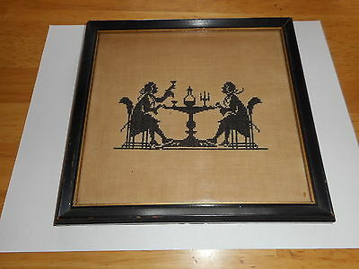 Antique Silhouette Cross Stitch Picture Colonial Men Having A Toast *********