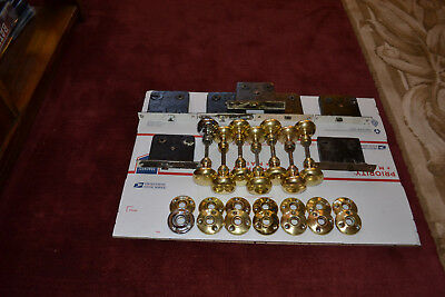 7 Antique Vintage Solid Brass Door Knob Sets 7 Rosettes Sets 7 Locksets