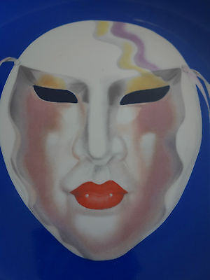 "VINTAGE RETRO 50s ""SAJI"" JAPAN KABUKI DRAMA MASK DESIGN LARGE PLATE"
