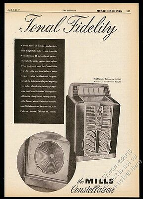 1947 Mills Constellation jukebox & speaker photo vintage trade print ad