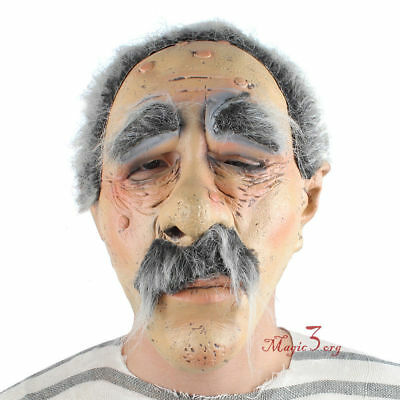 Scary Dead Ugly Old Man Guy Halloween Mask Adult Horror Funny Dress Costume