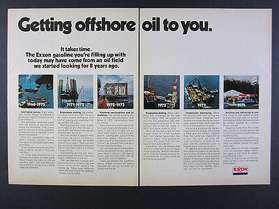 1974 EXXON Offshore Oil Drilling Timeline Stages photos vintage print Ad