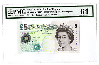 2002 ND 2012 5PD GREAT BRITAIN BANK OF ENGLAND PMG 64 #391d BANKNOTE SALMON