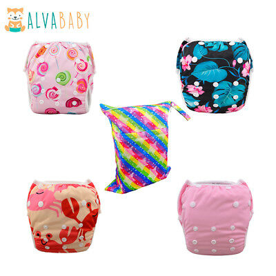 4 ALVA Baby Girl Swim Diapers One Travel Wet Dry Cloth Bag Reusable Washable