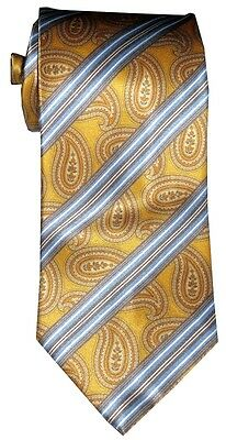 $285 New Brioni Satin Yellow Light Blue Orange Paisley Stripe Silk Mens Neck Tie