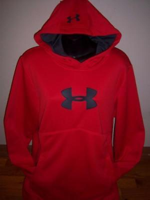 NEW Mens Under Armour Hoodie Storm Red Loose Fit Pull Over Sweatshirt Medium M
