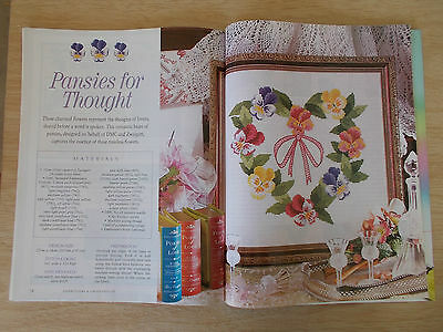 Embroidery & Cross Stitch Vol 12 #6~Pansies~Roses~Punch-Needle Flowers~Poppies