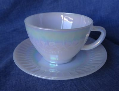 Coffee / Tea Cup & Saucer Retro Federal Glass MOONGLOW Iridescent Pearl Lustre