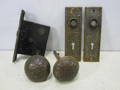 Vintage Eastlake Brass Door Knobs, Backplates and Lock Set